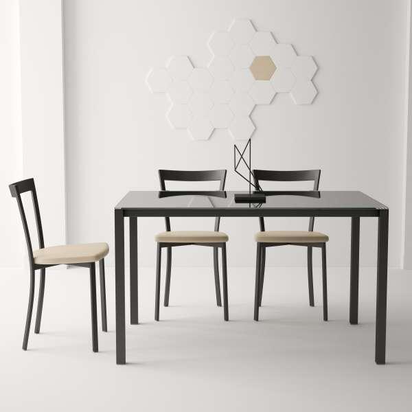 Table moderne petit espace en verre et métal - Logic - 1