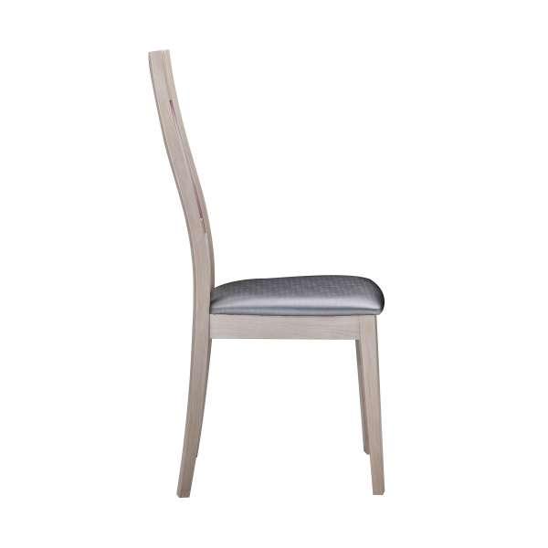 Chaise de salle à manger contemporaine en bois et vinyle – Loane 4 - 5