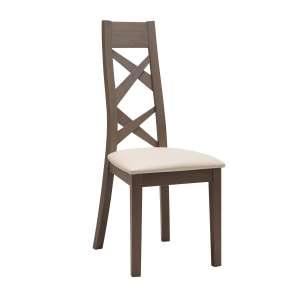 Chaise de salle à manger contemporaine en bois et vinyle - Kassy