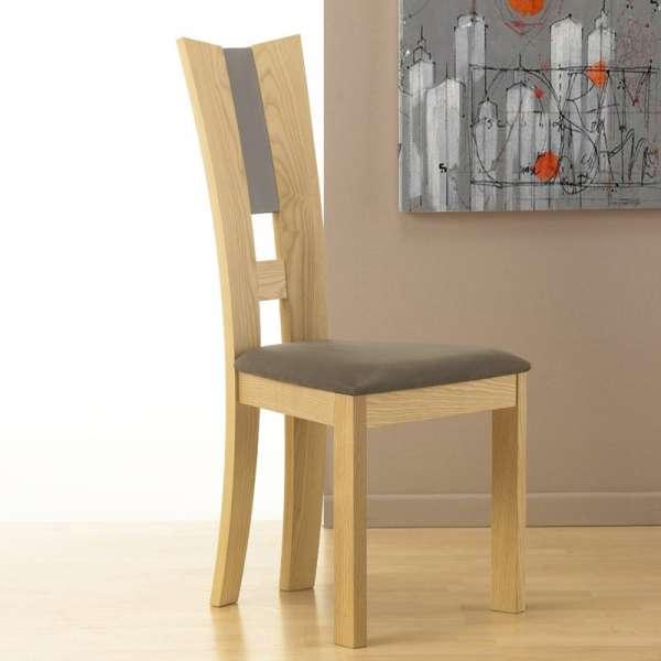 Chaise de salle manger contemporaine fran aise en tissu et bois massif floriane 4 - Chaises salle a manger bois et tissu ...