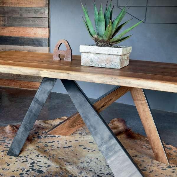 Table design rectangulaire en bois massif et méta industriel - Toronto 2 - 2