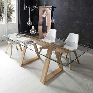 Table design en verre trempé et bois massif - Tokyo