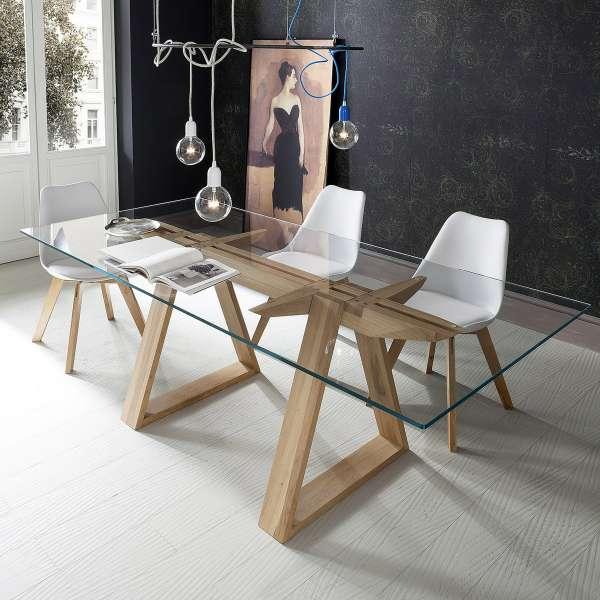 Table design en verre trempé et bois massif - Tokyo - 1