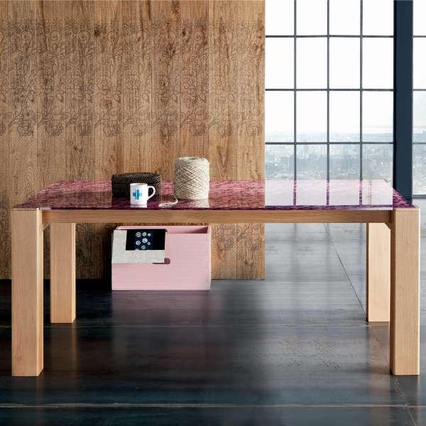 Table extensible design en verre fleurs et bois massif - Sidney 5 - 5