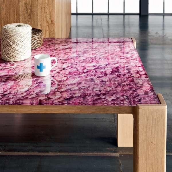 Table extensible design en verre motifs fleurs et bois massif - Sidney 6 - 6