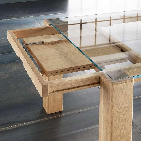 Table extensible design en verre transparent et bois massif -  Sidney 3 - 3