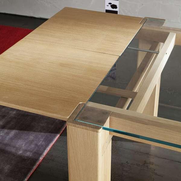 Table extensible design en verre et bois massif - Sidney 4 - 4