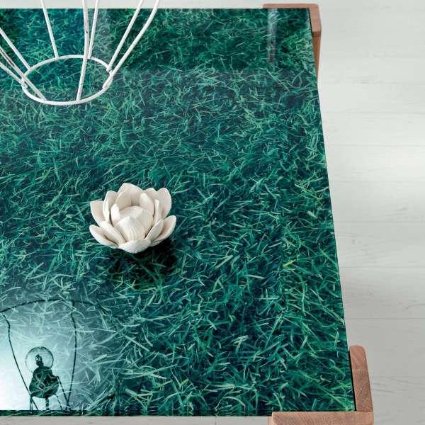Table extensible design en verre gazon et bois massif - Sidney 8 - 9