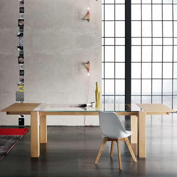 Table extensible design en verre et bois massif - Sidney 2 - 2