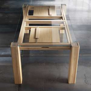 Table extensible design en verre transparent et bois massif - Sidney