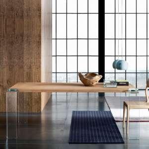 Table design en bois massif et verre - Siviglia