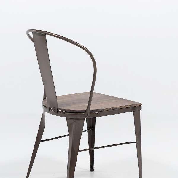 chaise industrielle en acier brut vernis, assise bois pin rustique - 2