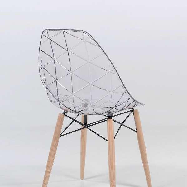Chaise design transparente avec pieds en bois naturel - Prisma - 2