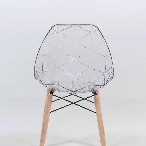 Chaise transparente avec pieds en bois naturel - Prisma - 3