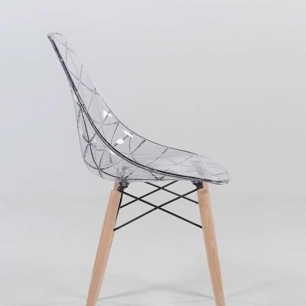 Chaise design avec pieds en bois naturel et coque transparente - Prisma - 4