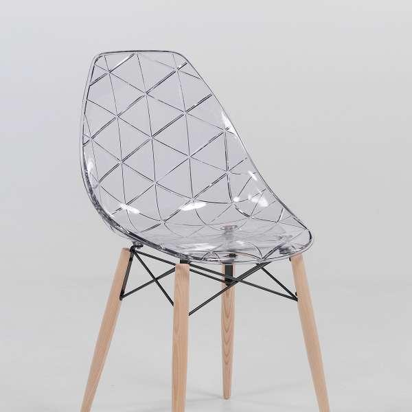 Siège design coque transparente avec pieds en bois naturel - Prisma - 5