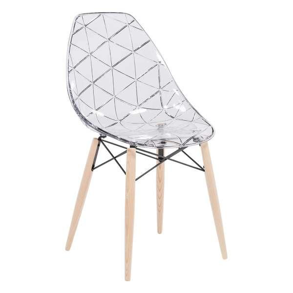 Chaise design coque transparente avec pieds en bois naturel - Prisma - 1
