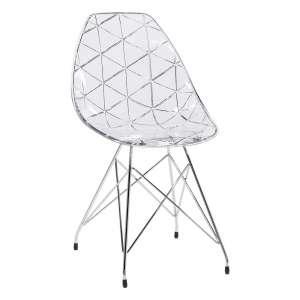 Chaise design coque transparente avec pieds eiffel en métal chromé - Prisma