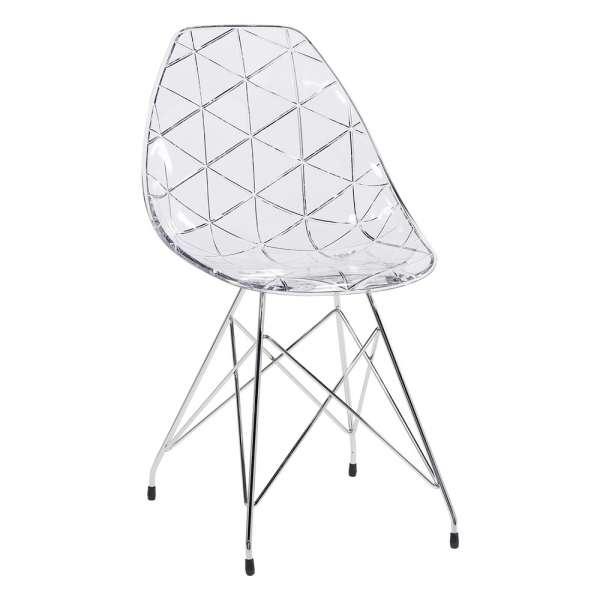 Chaise design coque transparente avec pieds eiffel en métal chromé - Prisma - 1