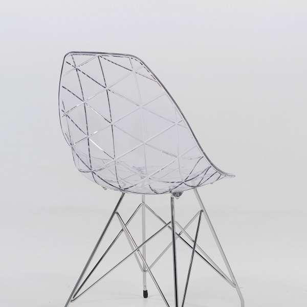Chaise design transparente avec pieds eiffel en métal chromé - Prisma - 2