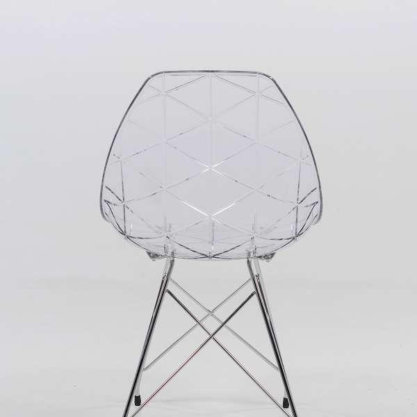 Chaise transparente avec pieds eiffel en métal chromé - Prisma - 3