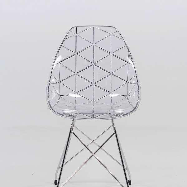 Chaise avec pieds eiffel en métal chromé et coque transparente - Prisma - 5
