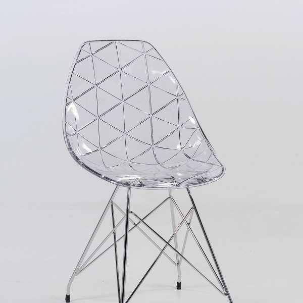 Chaise design avec pieds eiffel en métal chromé et coque transparente - Prisma - 6