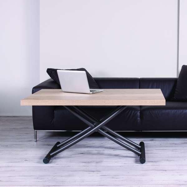 Table basse relevable en mélaminé chêne naturel N20 pieds graphite 11 - Géniale 2 - 6