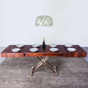 Table relevable extensible en chêne et piétement doré - Ulisse