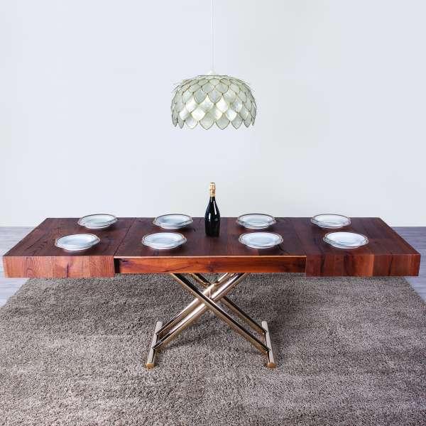 Table relevable extensible en chêne et piétement doré - Ulisse - 1