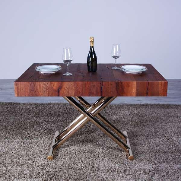Table extensible relevable en chêne et piétement doré - Ulisse - 2