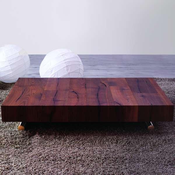 Table relevable en chêne avec allonges et piétement doré - Ulisse - 3