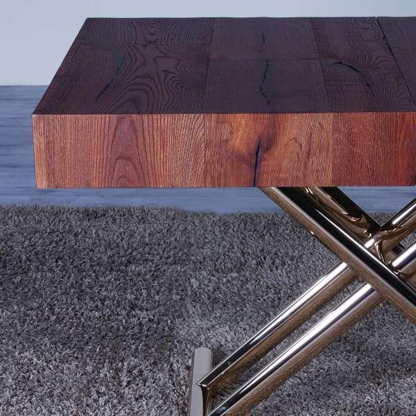 Table extensible relevable en chêne et pieds dorés - Ulisse - 4