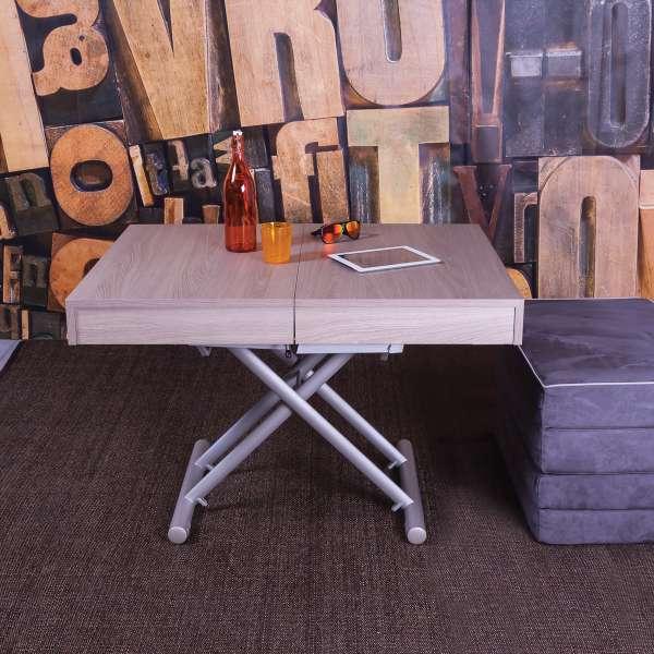 Table transformable en lit en mélaminé Orleans Sabbia N19 piétement M02- Tavoletto - 1