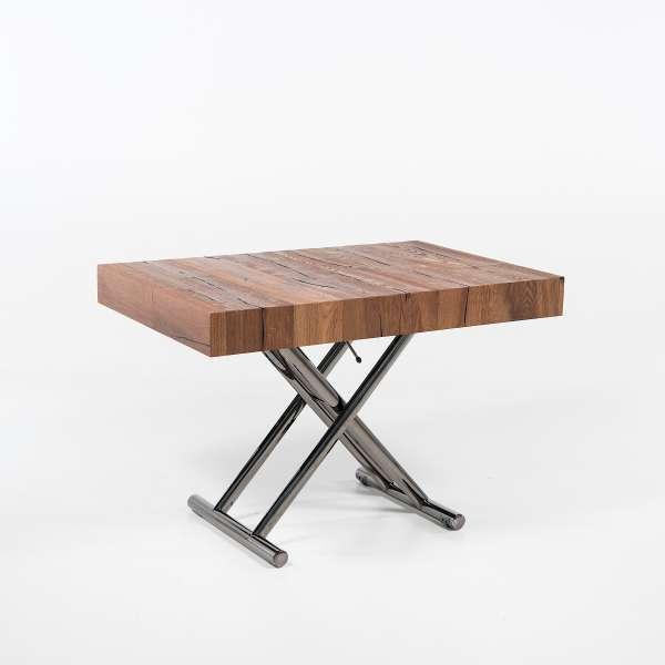 Table relevable extensible en bois piétement noir chromé - Ulisse - 6