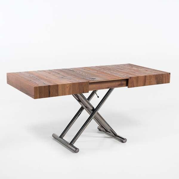 Table relevable extensible en bois piétement noir chromé - Ulisse - 7