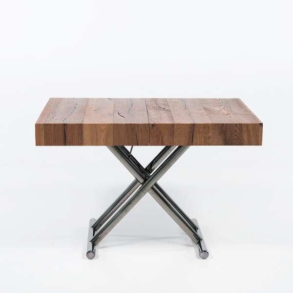 Table relevable extensible en bois piétement noir chromé - Ulisse - 9