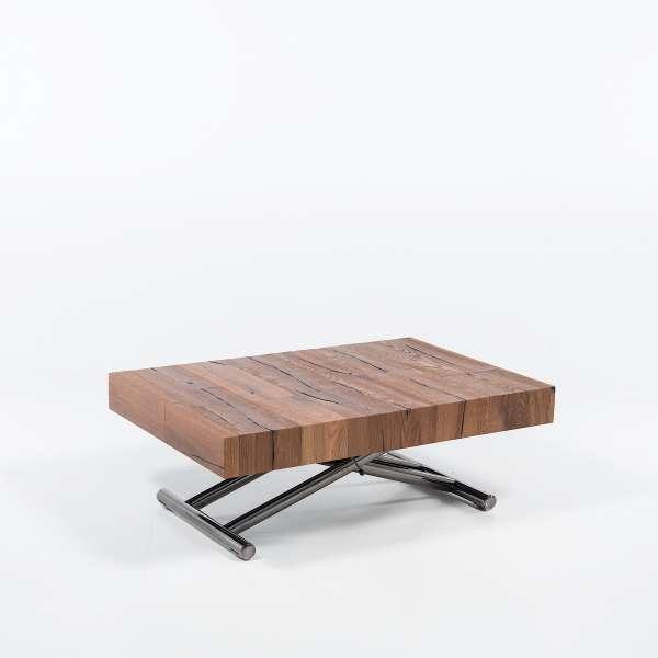 Table relevable extensible en bois piétement noir chromé - Ulisse - 10