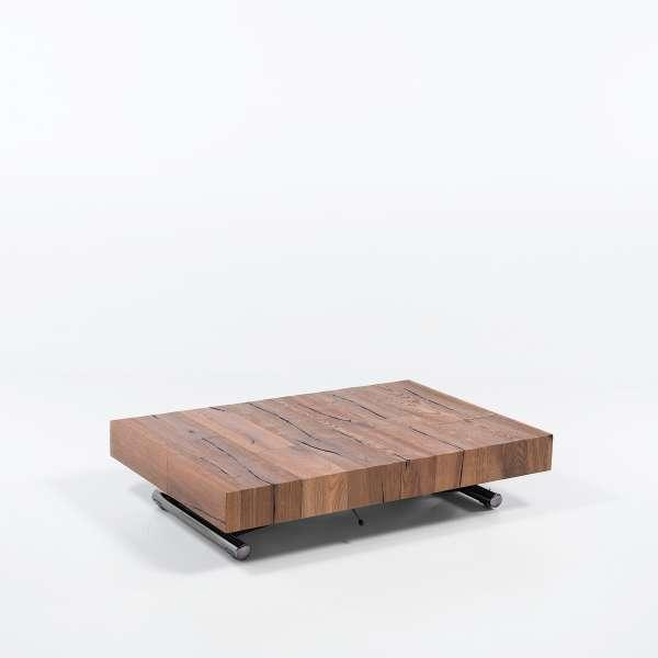 Table relevable extensible en bois piétement noir chromé - Ulisse - 11