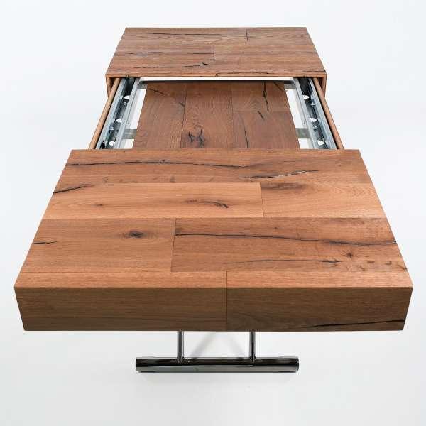 Table relevable extensible en bois piétement noir chromé - Ulisse - 12