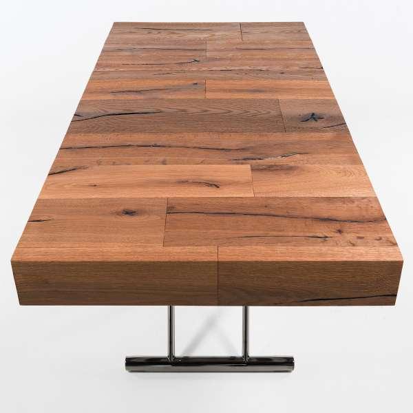 Table relevable extensible en bois piétement noir chromé - Ulisse - 13