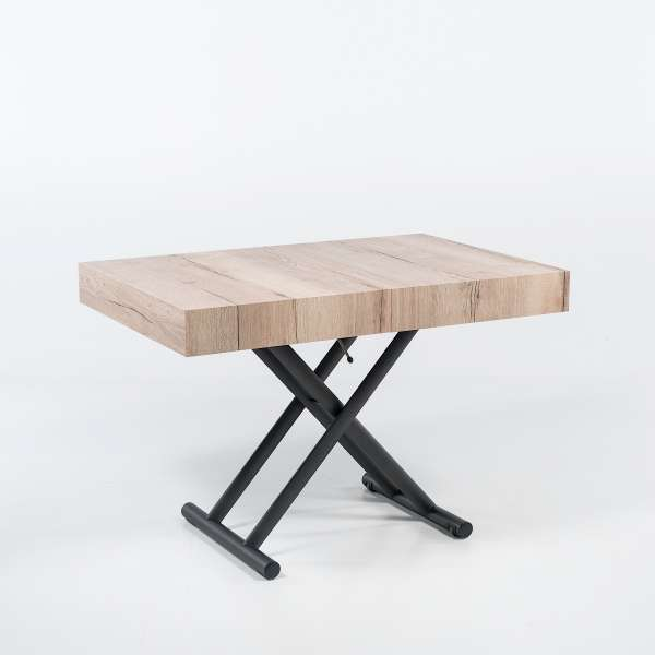 Table relevable extensible en mélaminé natural halifax n20 piétement graphite m11  - Ulisse - 1