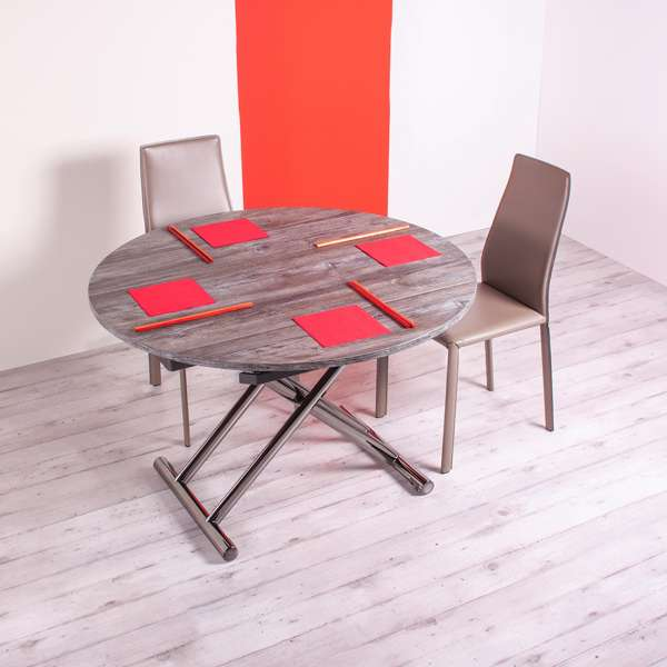 Table ronde relevable en mélaminé avec allonges - Redondo