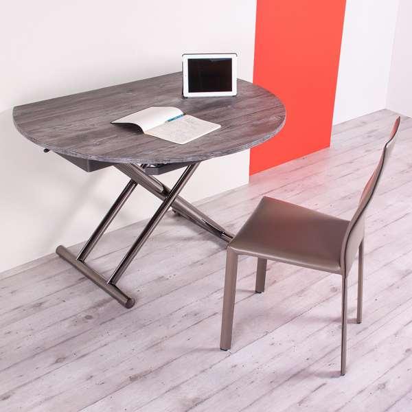 Table relevable avec allonges pour petit espace en mélaminé - Redondo - 2