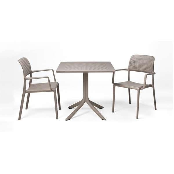 Petite table de jardin carrée en plastique taupe - Clip - 11