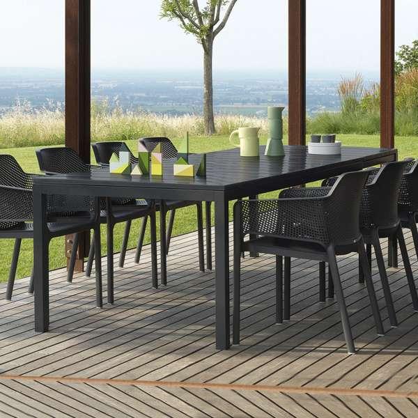 Table de jardin extensible en polypropylène DurelTop et aluminium anthracite - Rio - 2
