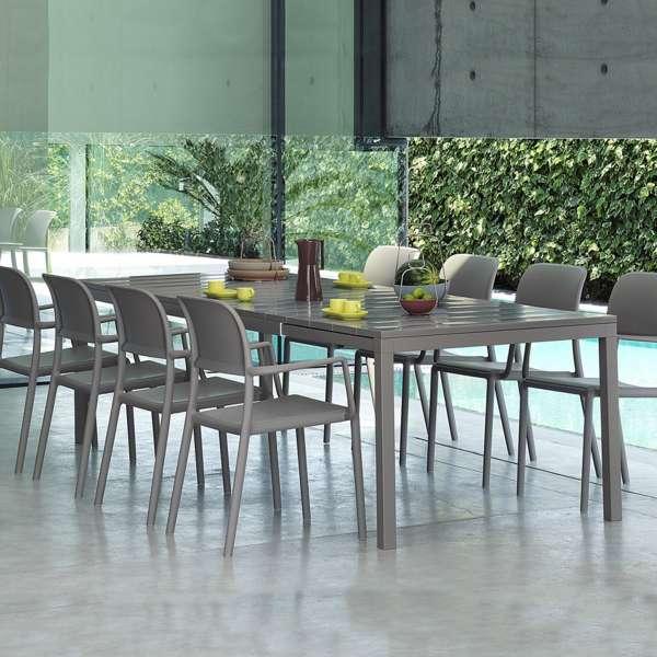 Table de jardin extensible en polypropylène DurelTop et aluminium taupe- Rio - 6