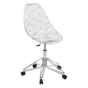 Chaise de bureau design sur roulettes coque transparente et pied en métal chromé - Prisma