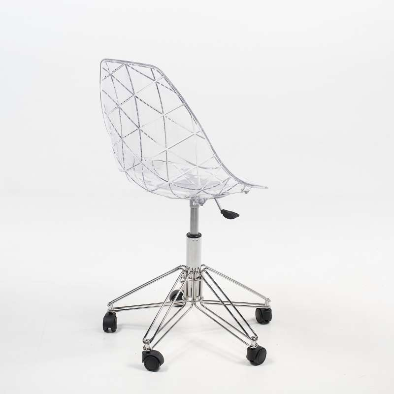 Et Pied Dactylo Prisma Transparente Métal Chromé Roulettes Design Avec Chaise En TKJl1cF