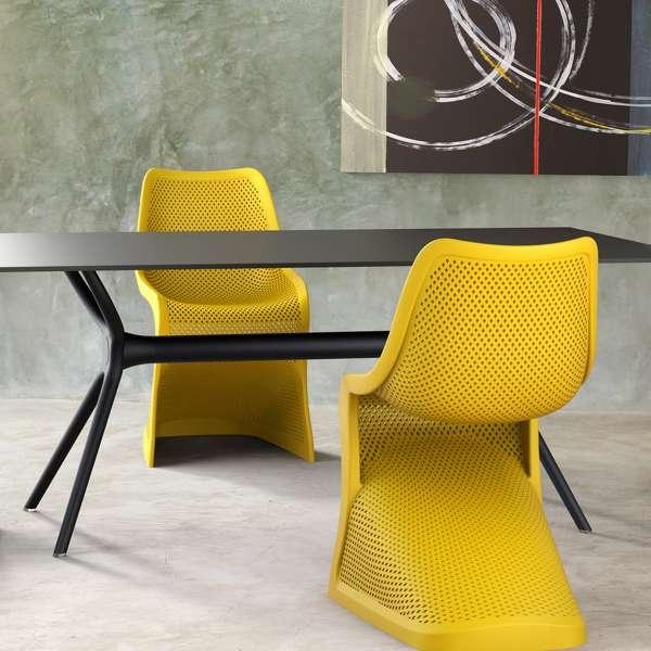 Chaise design en plastique jaune ajouré - Bloom - 3